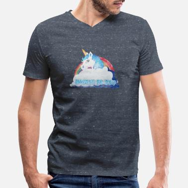 Central Central Intelligence Unicorn Faded as worn - Men's V-Neck T-Shirt by Canvas