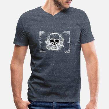 Lino Cut Skeleton Lino Cut 02 - Men's V-Neck T-Shirt by Canvas