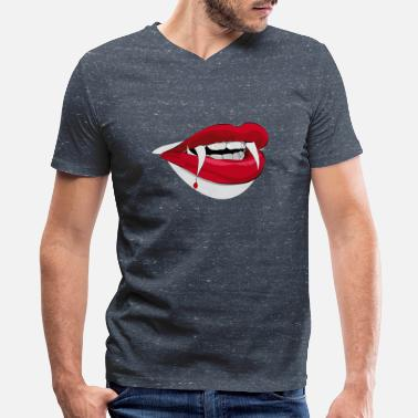 Female Vampire Dracula Female Vampire Fangs - Men's V-Neck T-Shirt