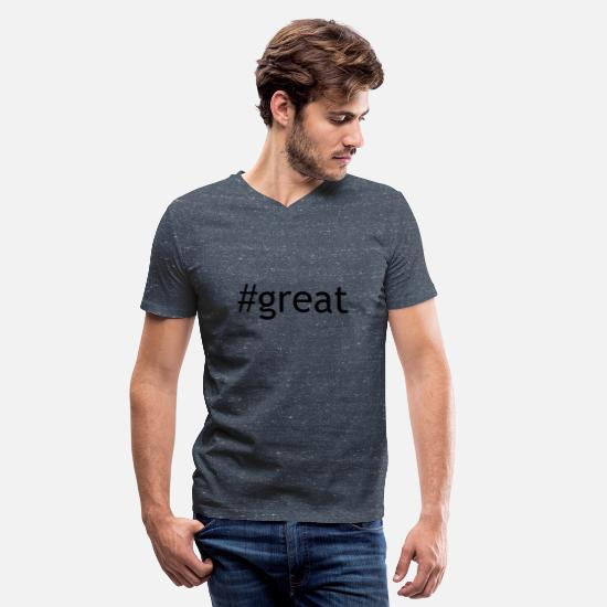 Cool T-Shirts - great - Men's V-Neck T-Shirt heather navy