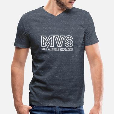 Mv MVS Most Valuable Stepfather Fathers Day Gift - Men's V-Neck T-Shirt by Canvas