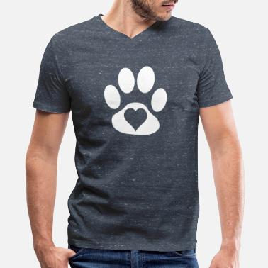 Paws Heart Heart in paw - Men's V-Neck T-Shirt by Canvas