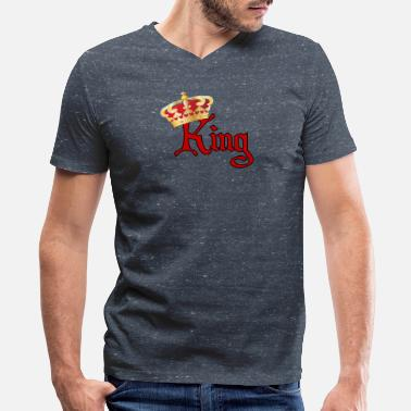 King Red Gold He is Your King-Red &Gold - Men's V-Neck T-Shirt by Canvas