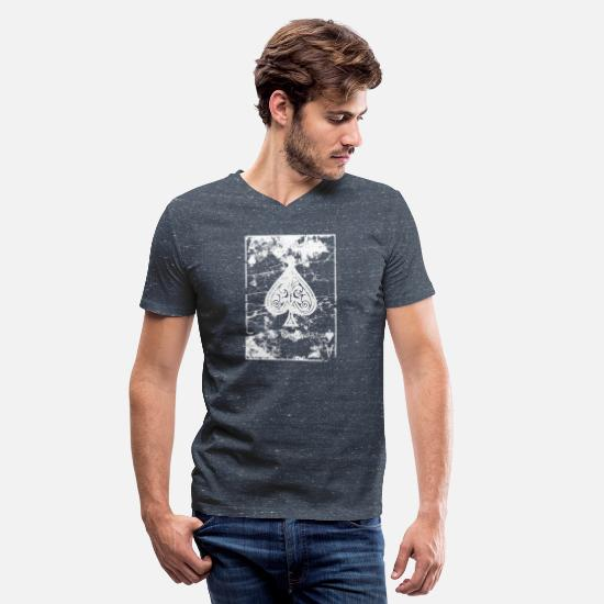 Ace T-Shirts - Ace of Spades - Men's V-Neck T-Shirt heather navy