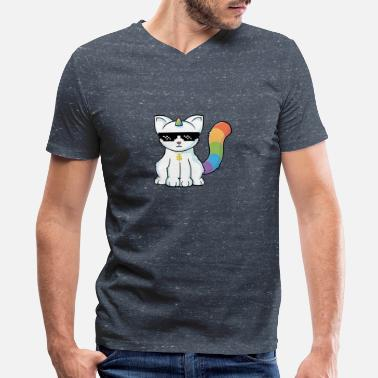 Unicorn Cat unicorn cat - Men's V-Neck T-Shirt by Canvas