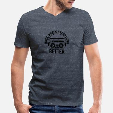 Music Is Life Music makes everything better - Men's V-Neck T-Shirt by Canvas