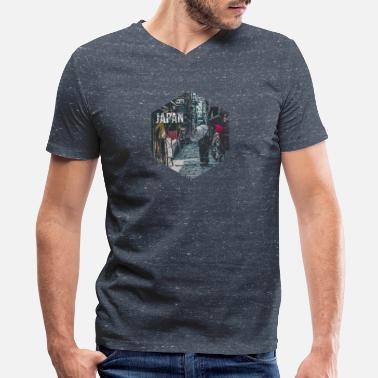Japanimation Vintage Geometric Streets of Japan Travel - Men's V-Neck T-Shirt by Canvas