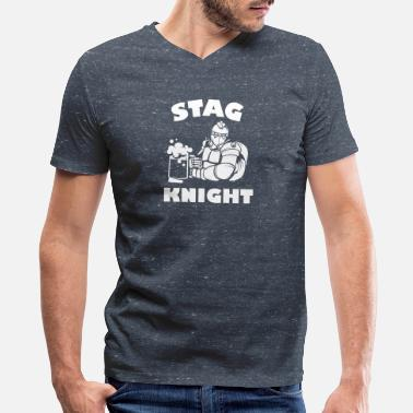 Knight Owl Stag Night Stag Knight - Men's V-Neck T-Shirt by Canvas