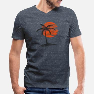 sunset with tree of palm - Men's V-Neck T-Shirt