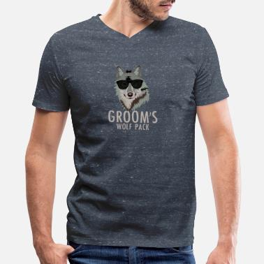Groom Wolfpack / Groom - Bachelor Party Funny Wolf Pack - Men's V-Neck T-Shirt