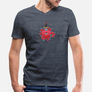 American Tradition American Traditional Tattoo Heartbroken - Men's V-Neck T-Shirt by Canvas