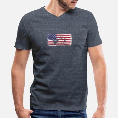 Bowling And Flag American Flag Bowling - Men's V-Neck T-Shirt by Canvas