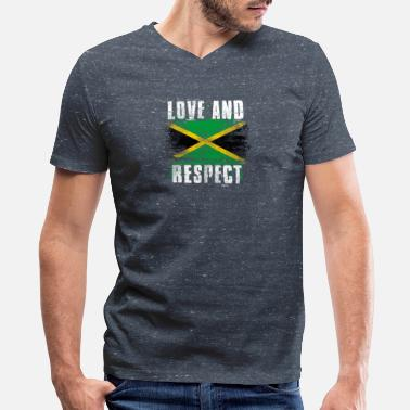 Jamaica Graffiti Love and Respect Jamaica Flag Jamaican Pride T Shirt - Men's V-Neck T-Shirt by Canvas