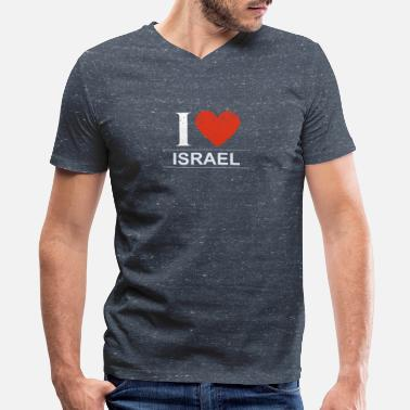 I Love Israel I Love Israel - Men's V-Neck T-Shirt by Canvas