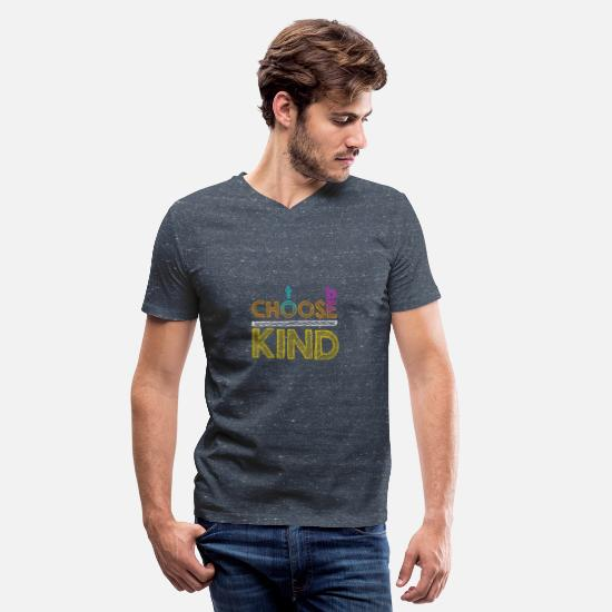 Kindness T-Shirts - Choose To Be Kind Anti-Bullying Spread Kindness - Men's V-Neck T-Shirt heather navy