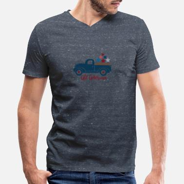 Labor Indepence Day All American Pickup Truck July 4th - Men's V-Neck T-Shirt