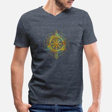 Awe Aegishjalmur Nordic Viking Symbol Helm Of Awe - Men's V-Neck T-Shirt