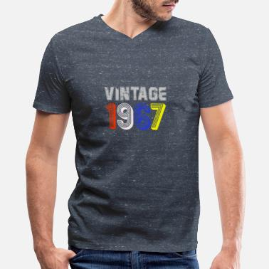 Womens 1967 Vintage 1967 Birthday Gift Idea Men Women - Men's V-Neck T-Shirt by Canvas