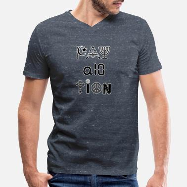 Zoroastrian Pay Attention and Coexist - Men's V-Neck T-Shirt by Canvas