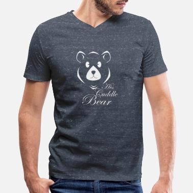 Cuddle Bear His Cuddle Bear - Men's V-Neck T-Shirt by Canvas