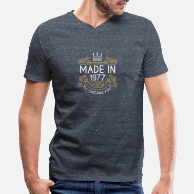 1977 All Original Parts Made In 1977 All Original Parts - Men's V-Neck T-Shirt by Canvas