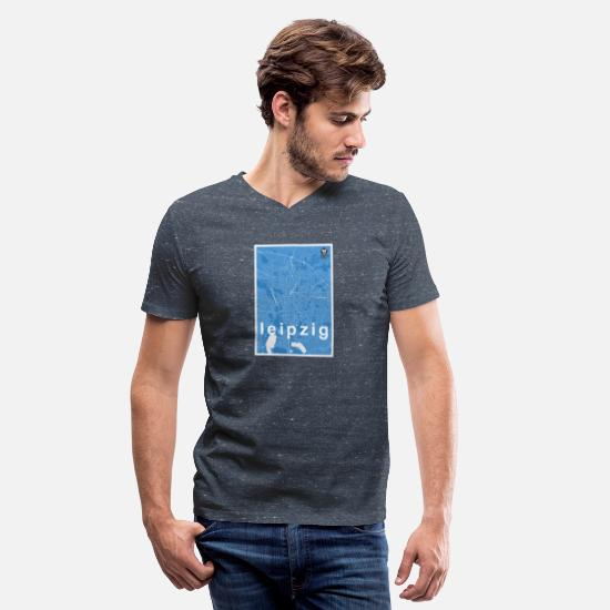 Blue Sky T-Shirts - Leipzig hipster city map blue - Men's V-Neck T-Shirt heather navy