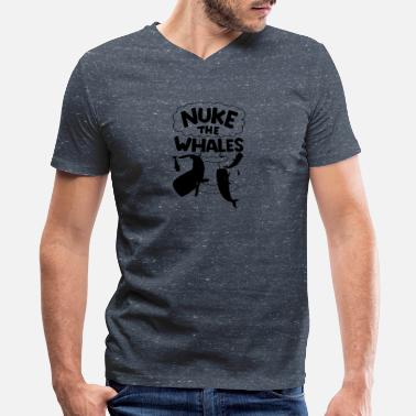 Nuke The Whales NUKE THE WHALES AWESOME - Men's V-Neck T-Shirt by Canvas
