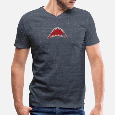 Hierarchy Shark Hierarchy - Men's V-Neck T-Shirt by Canvas
