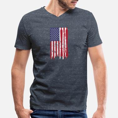 Ski Pole US flag with skis and ski poles as stripes - Men's V-Neck T-Shirt by Canvas