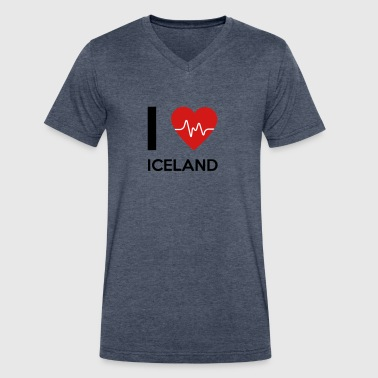 I Love Iceland - Men's V-Neck T-Shirt by Canvas