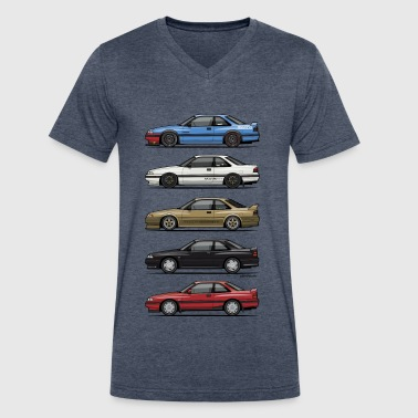 Stack of Mazda MX6 GTs - Men's V-Neck T-Shirt by Canvas