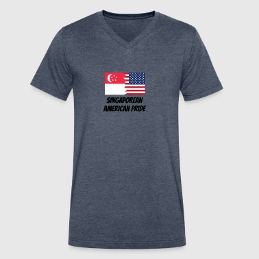 Singaporean American Pride - Men's V-Neck T-Shirt by Canvas