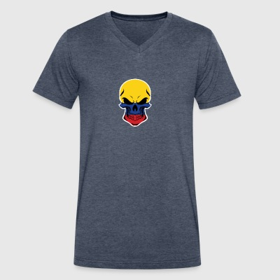 Colombian Flag Skull - Men's V-Neck T-Shirt by Canvas
