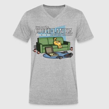 Staycation CouchLandia Vacation Shirt - Video Game Edition - Men's V-Neck T-Shirt by Canvas