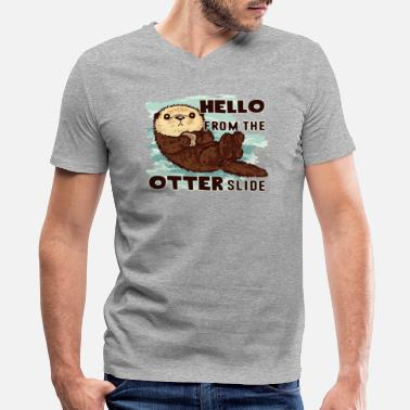 Hello From The Otter Slide Otter Shirt - Men's V-Neck T-Shirt by Canvas