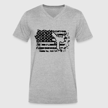 Taekwondo Flag Shirt - Men's V-Neck T-Shirt by Canvas