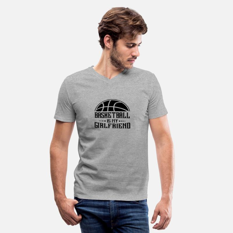 Basketball T-Shirts - Basketball my Girlfriend - Men's V-Neck T-Shirt heather gray