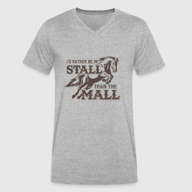 Rather in stall than mall - Men's V-Neck T-Shirt by Canvas