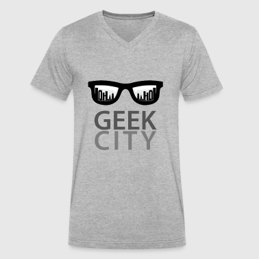 GEEk CITY with Glasess k - Men's V-Neck T-Shirt by Canvas