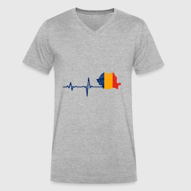 Heartbeat Romania gift - Men's V-Neck T-Shirt by Canvas