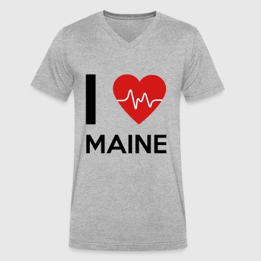 I-love-maine I Love Maine - Men's V-Neck T-Shirt by Canvas