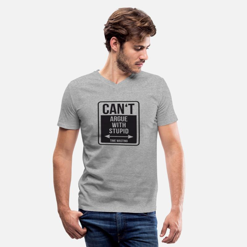 Time T-Shirts - Can't argue with stupid - Men's V-Neck T-Shirt heather gray