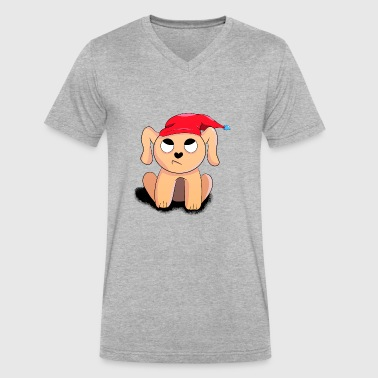 Christmas Puppy Christmas puppy - Men's V-Neck T-Shirt by Canvas