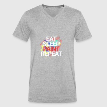Painting Eat Sleep Repeat Eat Sleep Paint Repeat - Men's V-Neck T-Shirt by Canvas