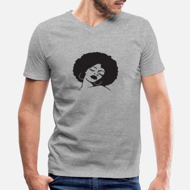 African Woman Afro Black Natural Hair Confident African Woman Afro Black Natural Hair Confident - Men's V-Neck T-Shirt by Canvas