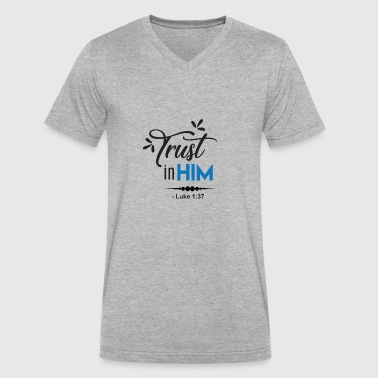 trust in him luke - Men's V-Neck T-Shirt by Canvas