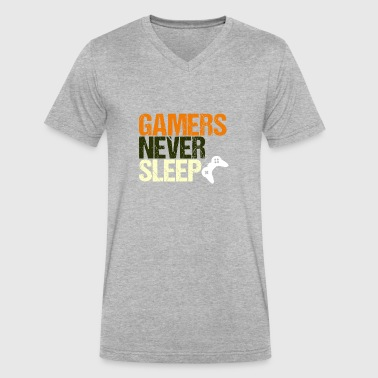 Gamers Never Sleep Retro - Men's V-Neck T-Shirt by Canvas