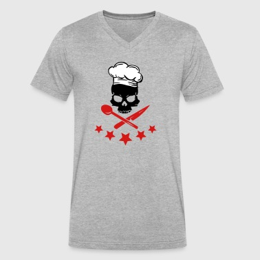 cooking skull - Men's V-Neck T-Shirt by Canvas