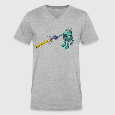 Retro Robot Retro Robot Blaster - Men's V-Neck T-Shirt by Canvas