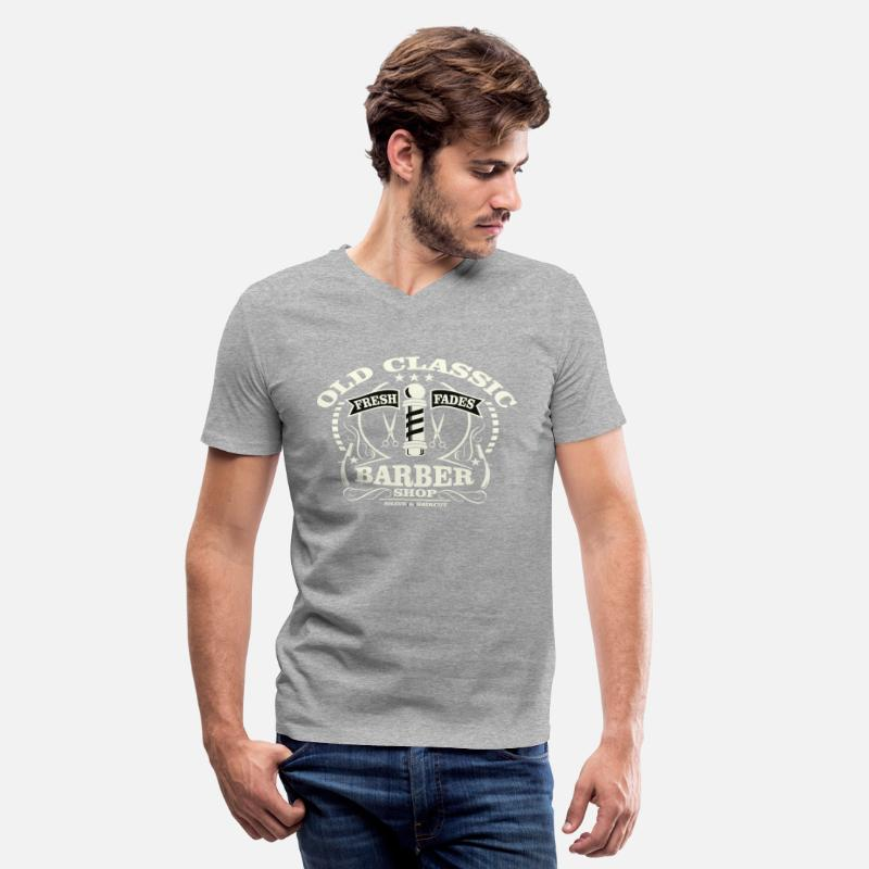 Barber T-Shirts - Old Classic Barber - Vintage, Barber Shop Shirt - Men's V-Neck T-Shirt heather gray